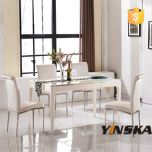 vendita calda varie dimensioni piano in marmo telaio in acciaio inox tavolo da pranzo