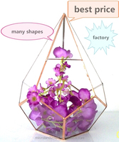 Wholesale and retail brass frame Geometric glass terrariums