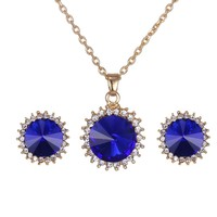 The new popular 2015 women necklace pendant suits crystal sunflower necklace earrings suit with all my heart