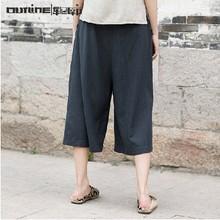2014 Summer latest fashion design cotton ladies 3/4 pants with pocket