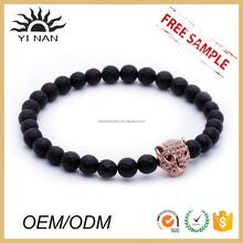 Fashion Jewelry Matt Black Onyx Stone Bead And Leopard Head Elastic Bracelet