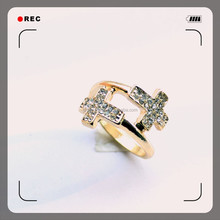 fashion design plating gold high material cooper diamond ring for sale