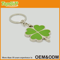 Four leaf clover keychain with green enamel for lucky gift