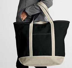 Large Zip Top Colored Canvas Tote Bag