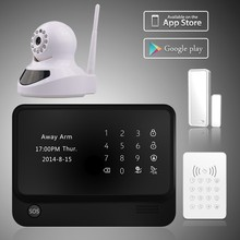 WIFI + GSM + GPRS word menu home alarm system with Notification push ,best GSM security alarm system with view IP cameras