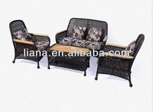 Top grade patio rattan sofa with teak on coffee table top