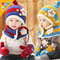 Wholesale Baby super star ear muff hat scarf gloves Combination suits