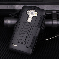 2015 Armor Shockproof Rugged Hybrid Impact Holster Hard Case Stand Cover For LG G4