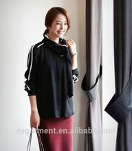 moda 2015 negro mujer blusa con sólo bufanda de las señoras blusa de diseño de gran tamaño de la ropa