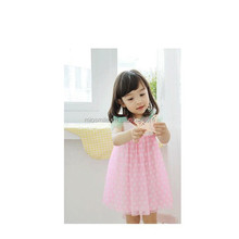 S30055W 2015 SUMMER NEWEST GIRL'S COTTON DOTS PRINTED SWEET DRESS