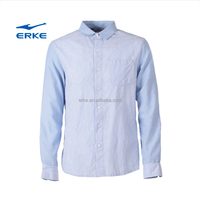 ERKE 2015 clothing manufacturer mens luxury casual long sleeve 100%cotton polo t shirt with front pocket factory in stock