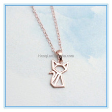 stainless steel rose gold geometric animal necklace cat necklace