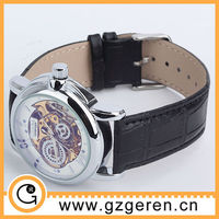 0181Z fashion unique leather skeleton mechanical watch for man