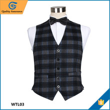 Wholesale High Quality Fashion Grey Black Tartan Woolen Men Waistcoat