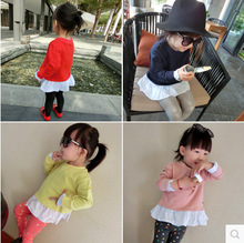 girls spring new fake two long-sleeved round neck suit jacket children T-Shirts
