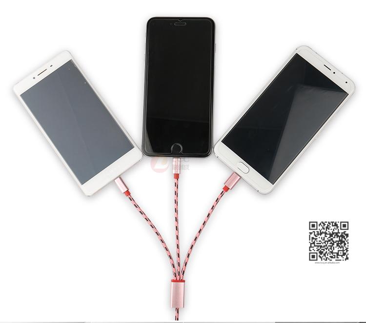 3 Em 1 USB Cabo de Nylon Trançado, Tudo Em Um Cabo De Carregamento, Função Multi Cabo USB Móvel