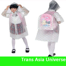 Hot selling kids pvc raincoat with hat