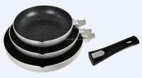 2015 new product non-stick cookware set with removable handle , detachable handle, hot sell