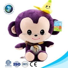 Wholesale cheap small size plush soft toy monkey with banana promotional purple stuffed soft plush monkey names