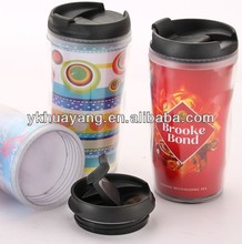 2015 hot sell 12 oz pladtic mug double wall with photo insert