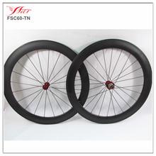 2015 Strongest road carbon bike wheels 60 20.5mm tubular spoke wheel painting, 20/24H, 3k matte, with Bitex hub Sapim spokes