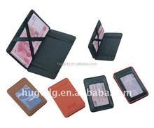 Fashiona top grain design personal mini slim top quality assorted colors pu leather magic wallet with elastic strap closure 2015
