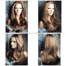 Wholesale bleached knots full lace wigs brazilian human hair natural wave Highlight #27#30#4