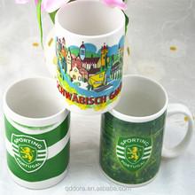 promotional ceramics coffee travel mug with silicon lid /cheap ceramic factory price promotional mug advertising mug