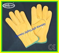 OEM Supply Type Service Yellow cow grain leather gloves for truck driver