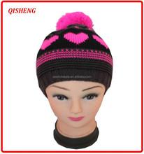 2015 Knitting heart pattern children's fashion winter hat with pompom