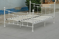 Top selling bed metal double bed with wood slat base