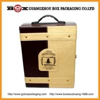 wholesale high quality rectangle black mdf inner flocking cloth 2 bottle wine box