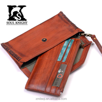 SK-8063 New promotion vintage top grain leather wallet phone case with separate card holder
