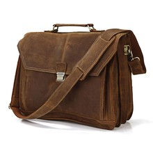 Top Quality Drop Shipping Top Grade Multifunctional Fashion Vintage Mens Genuine Italian Leather Bag Fit For 14'' Laptop #7083B