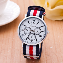 Hot selling in alibaba china various colors handcrafted woven quartz fabric geneva unisex there dials watches