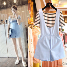 Retro word strapless striped short-sleeved T-shirt fresh piece shorts piece fitted