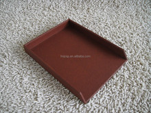 Brown stitching leather 1 tier desktop document tray
