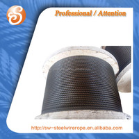 ungalvanied,black steel wire rope . 6x36Ws 6x19 cable de acero 3MM-54MM