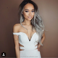 Ombre Silver Grey Natural Wavy Synthetic Lace Front Wig Glueless Dark Brown/Silver Grey Heat Resistant Hair Wigs New