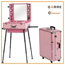 pink aluminum professional makeup case with lights & stand