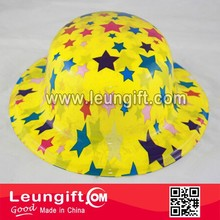 Lastest funny multicolor yellow plastic five-pointed star design christmas party crazy hats for kids
