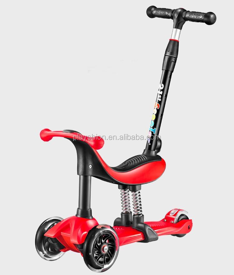 nouveau b b assis sur scooter 4 dans 1 t bar 3 roues trottinette pour les enfants scooters. Black Bedroom Furniture Sets. Home Design Ideas