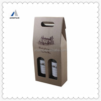Mountain High quality Hard paper bags two bottles leather wine carrier