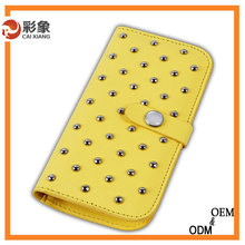 Hot selling new arrival genuine leather phone wallet case for HTC M8 mini