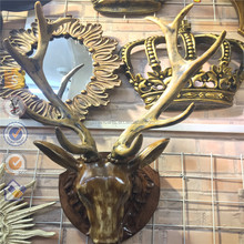 Home door deer head wall decoration wall craft resin mounted animal head for home decoration