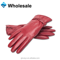 Basic ladies red sheep skin leather gloves driving gloves with leather strap