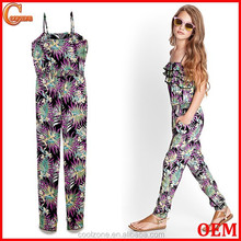 Cute rullled bodice tropical print kids jumpsuit clothing wholesale