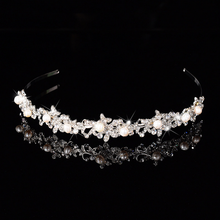 Factory Direct Sale Fashion Alloy Pearl Wedding Tiara Hair Band