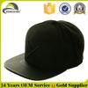 Custom Embroidered Flat Brim Black Leather Snapback Cap Wholesale