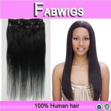 Fabwigs alibaba china 8a grade silky straight double weft clip in hair extensions brazilian virgin hair weave